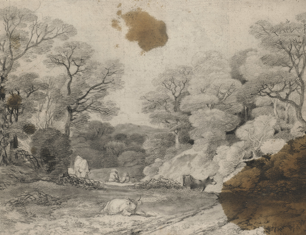 Adrawing in black chalk and stumpof trees and a path, with cows and two figures resting. Oil stains at top and lower right. On the verso, another landscape study in black chalk with trees.This drawing is one of 25 landscape drawings in the Ro