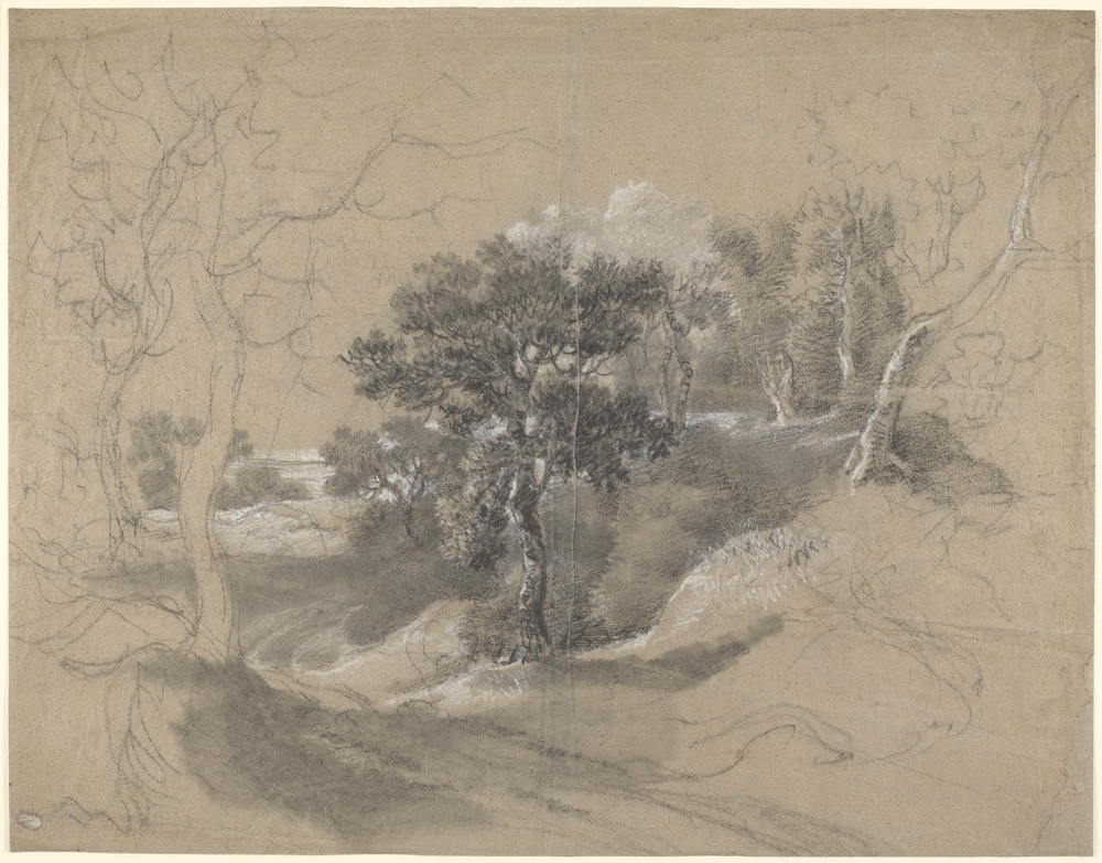 A drawing in black and white chalk andstumpof apath with trees and view to the distance, the central part of the drawing worked up. Drying fold at centre of sheet. This drawing is one of 25 landscape drawings in the Royal Collection tha