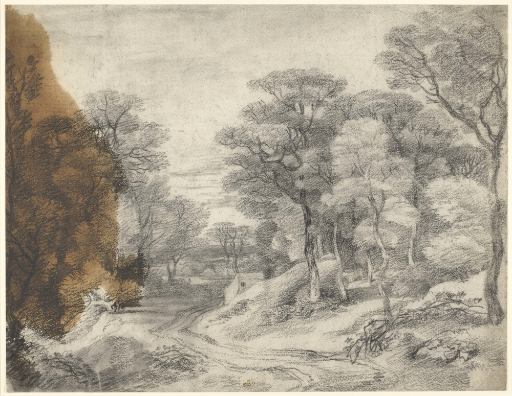 Adrawing in black chalk and stumpof a wooded landscape with a road winding through the centre, and a small house in the middle ground centre. Large oil stain at left. This drawing is one of 25 landscape drawings in the Royal Collection that w