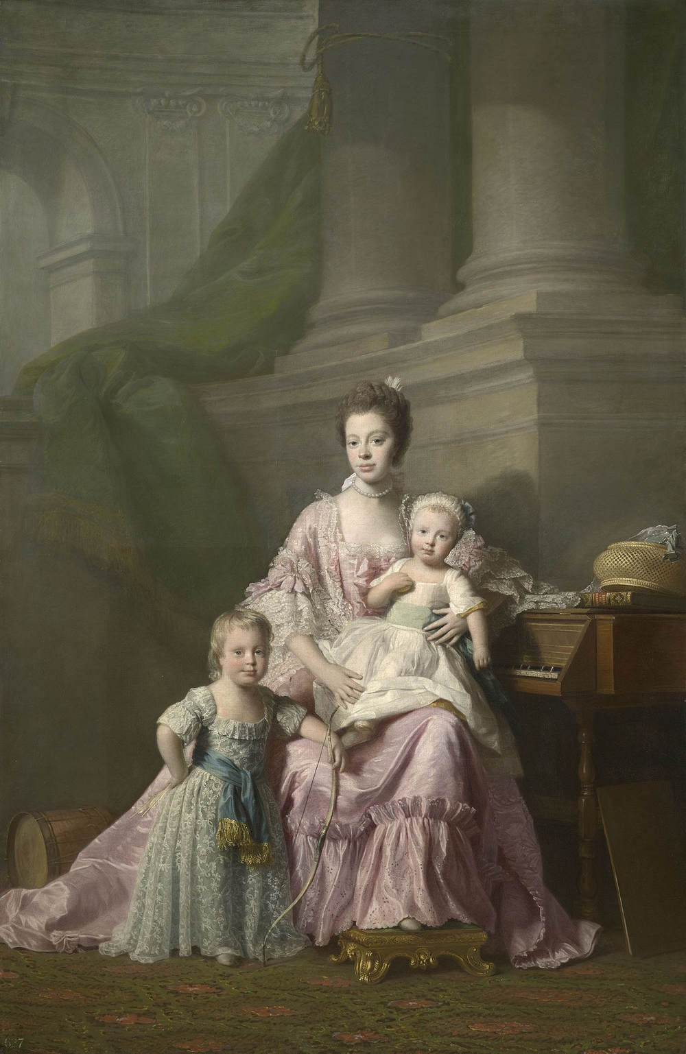 Painting showing Queen Charlotte with her two eldest sons