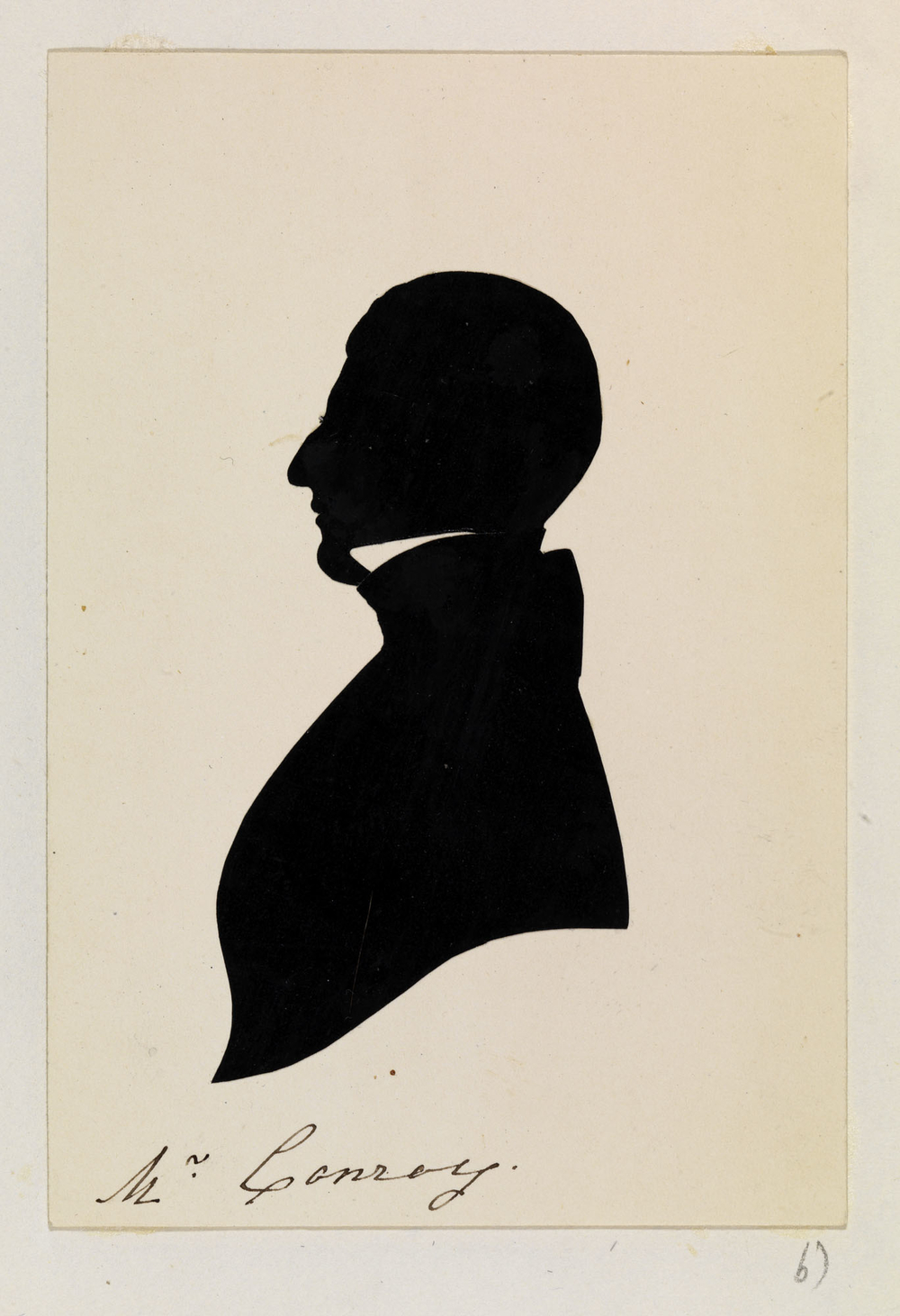 A silhouette showing a portrait of Edward Conroy. He is shown bust-length and facing left in profile. He is wearing nineteenth-century-style dress with a cut-out section depicting the collar of his shirt. Inscribed below: Mr Conroy. 