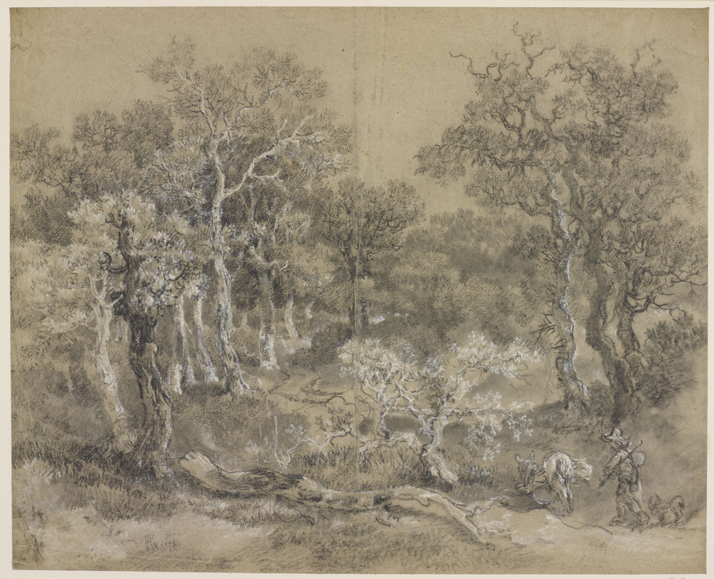 A drawing in black and white chalk and stump of a wooded landscape. A boy with donkey and dog to foreground right. Drying fold at the centre of the sheet.