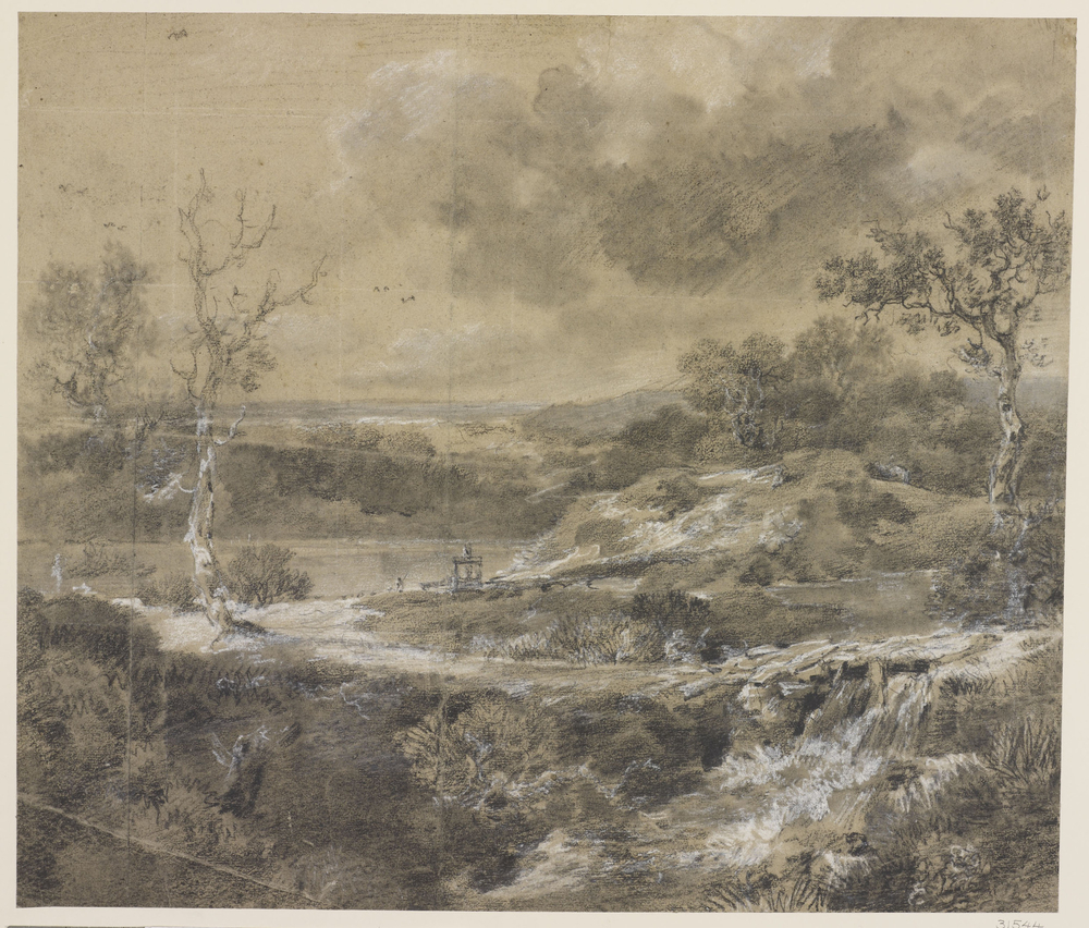 A drawing in black and white chalk and stumpof arolling landscape with rocky outcrops, trees and a lake to the middle ground left. Squared for transfer in white chalk. Drying fold at centre of sheet.
