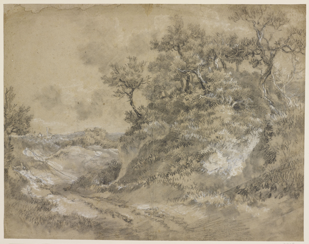 Adrawingin black and white chalk and stump of a wooded pathwith moorland to the distance. Drying fold at centre of sheet. The drawing possibly relates to a painting formerly in the collection of William Garnett bought by L. Miller