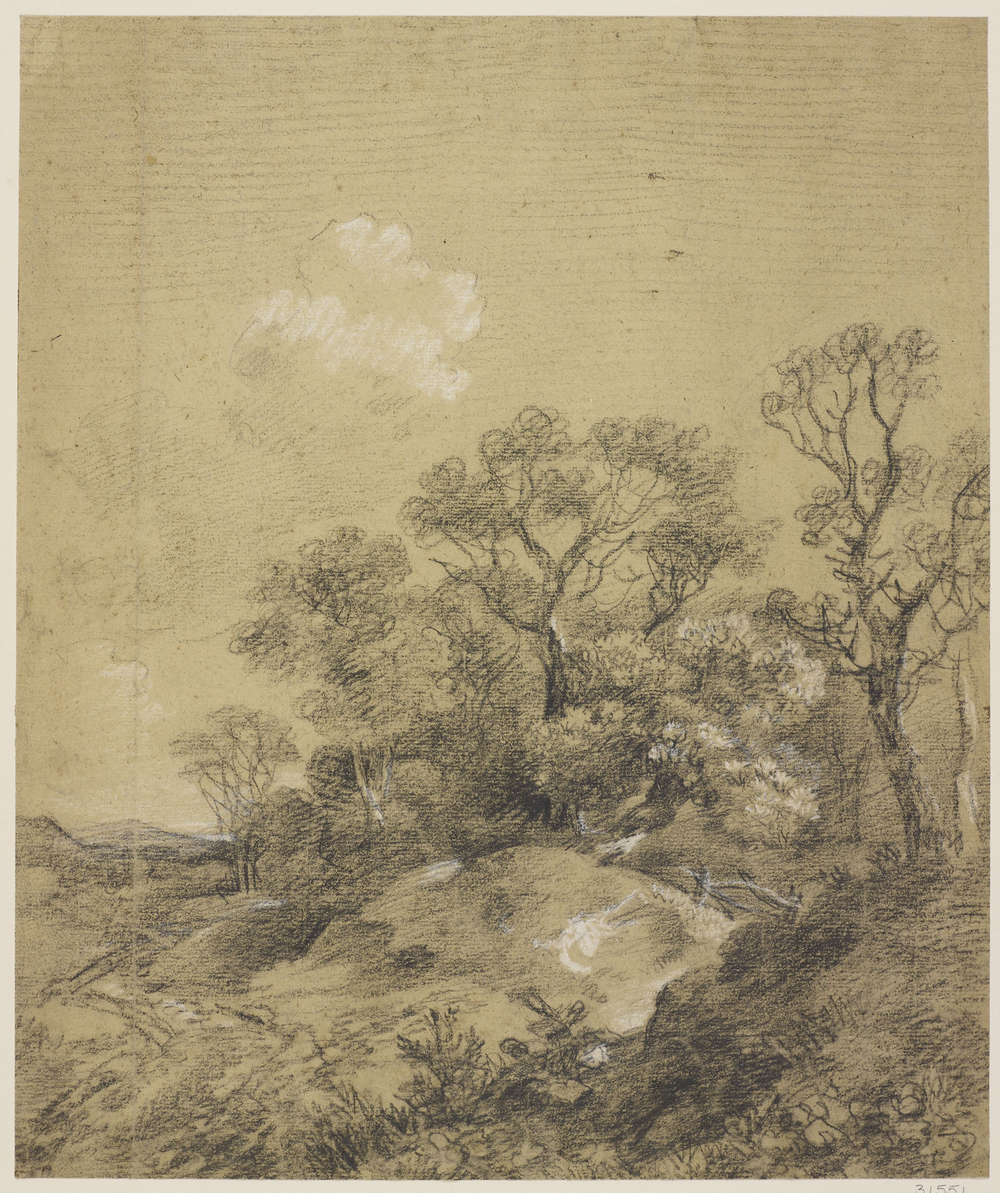 Ablack and white chalk drawing of a landscapewith hillock in the middle ground centre, topped with trees. Path to left. Paper is French and watermarked 1748 (date altered on mould from 1742).
