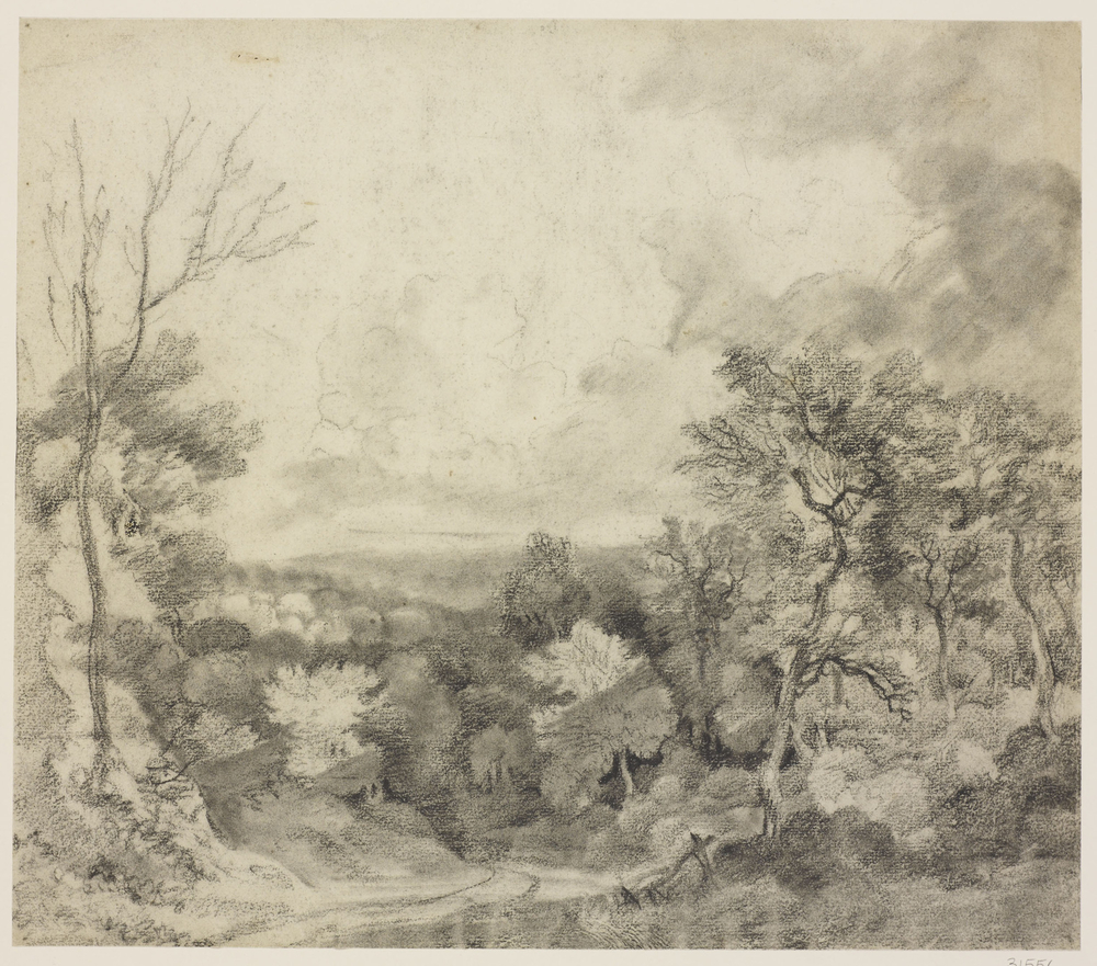 Adrawing in black chalk and stumpshowing trees lining a roaddescending from the foreground left. The drawing possibly relates to a paintingformerly in the collection ofWilliam Beckfordand sold at Christie's, 25 March 19