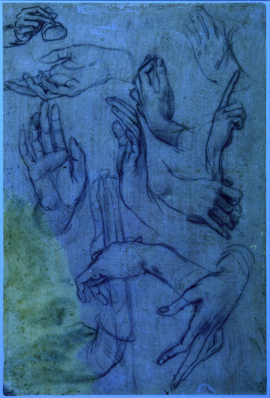 Leonardo da Vinci's 'Studies of hands' under UV light