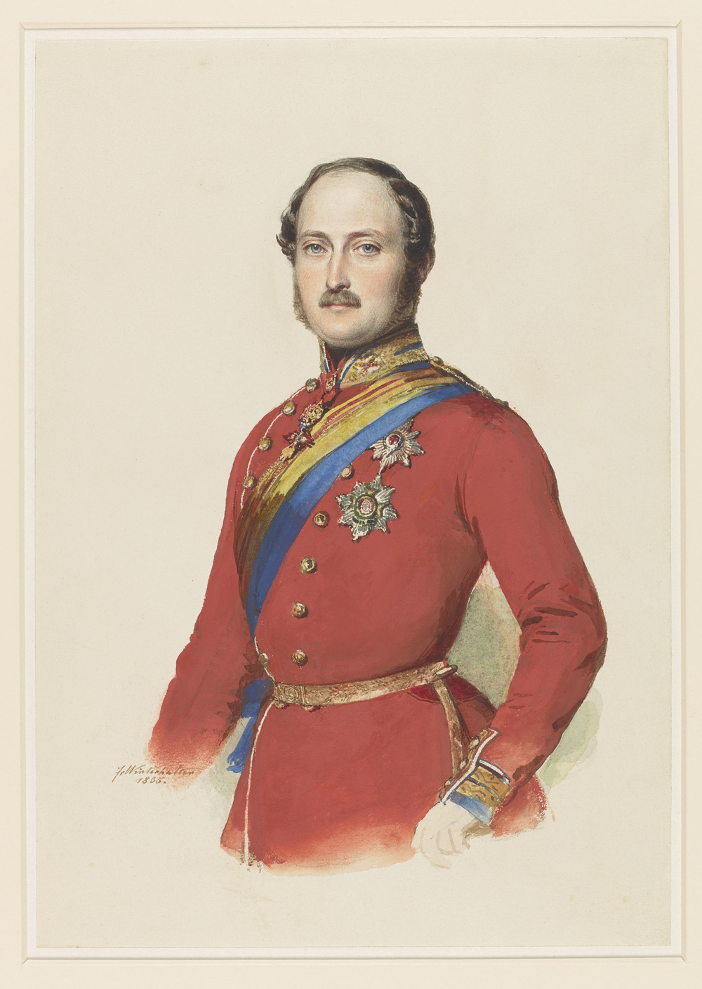 A three-quarter lengthwatercolour portraitof Prince Albert, facing front, wearing the uniform of the Grenadier Guards, the ribbon and star of the Garter, the star of Bath, the badge of Golden Fleece, and the House order of Saxe-Ernst. Signed a