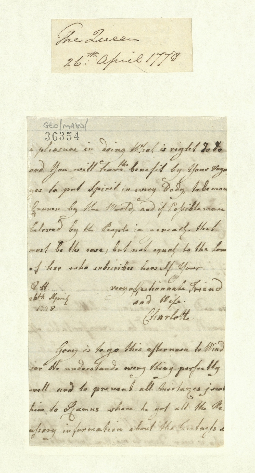 Letter from Queen Charlotte to King George III