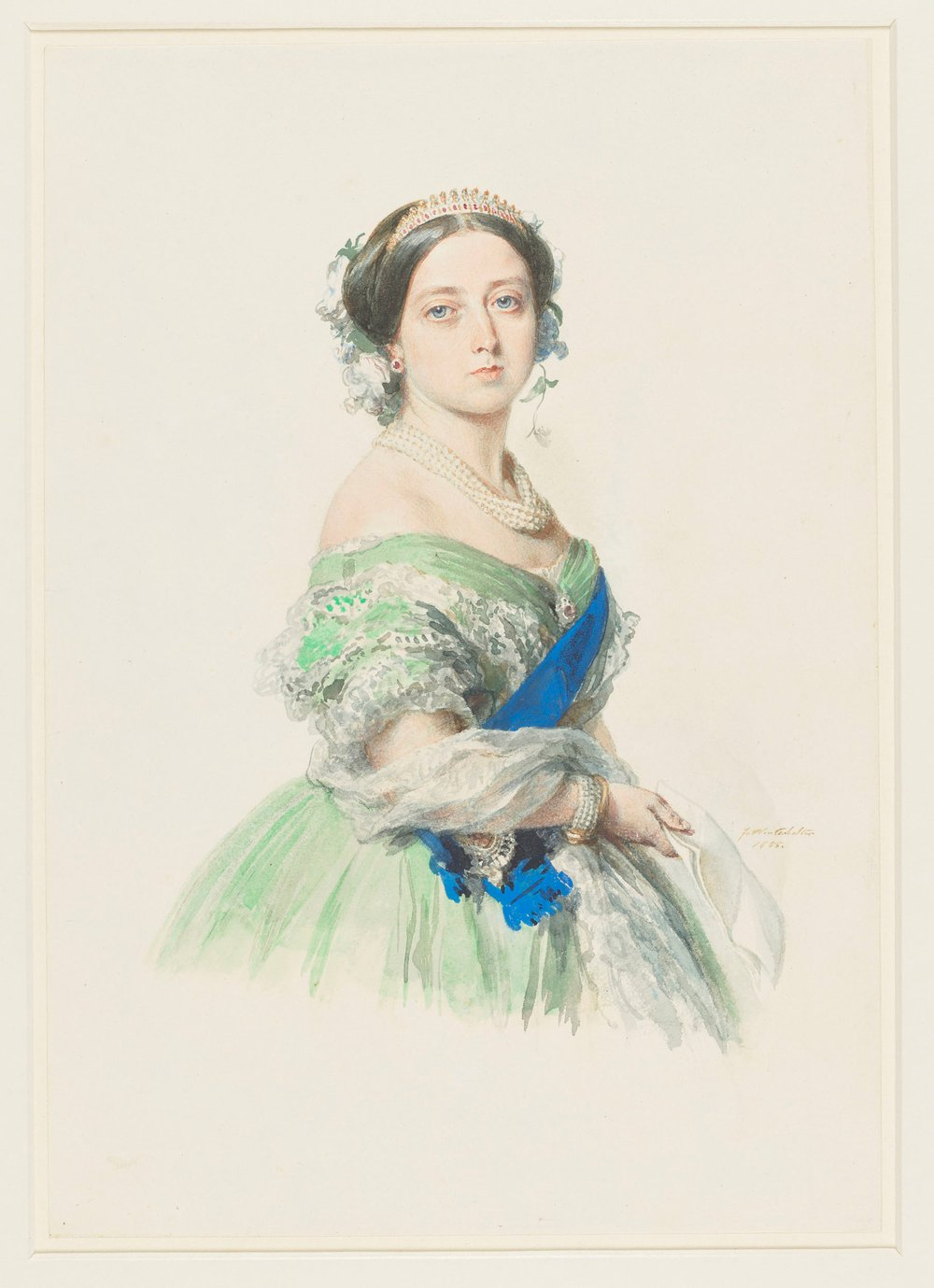 A three-quarter lengthwatercolour portraitof Queen Victoria, facing front, wearing a green dress with the ribbon and star of the Garter, and holding a paper. Signed and dated at bottom right.  In June1855 Queen Victoria recordedin