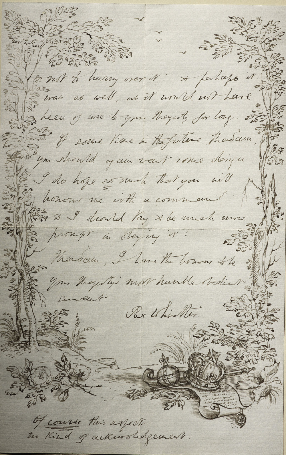 Hand-illustrated letter from Rex Whistler to Queen Elizabeth, 24 January 1937