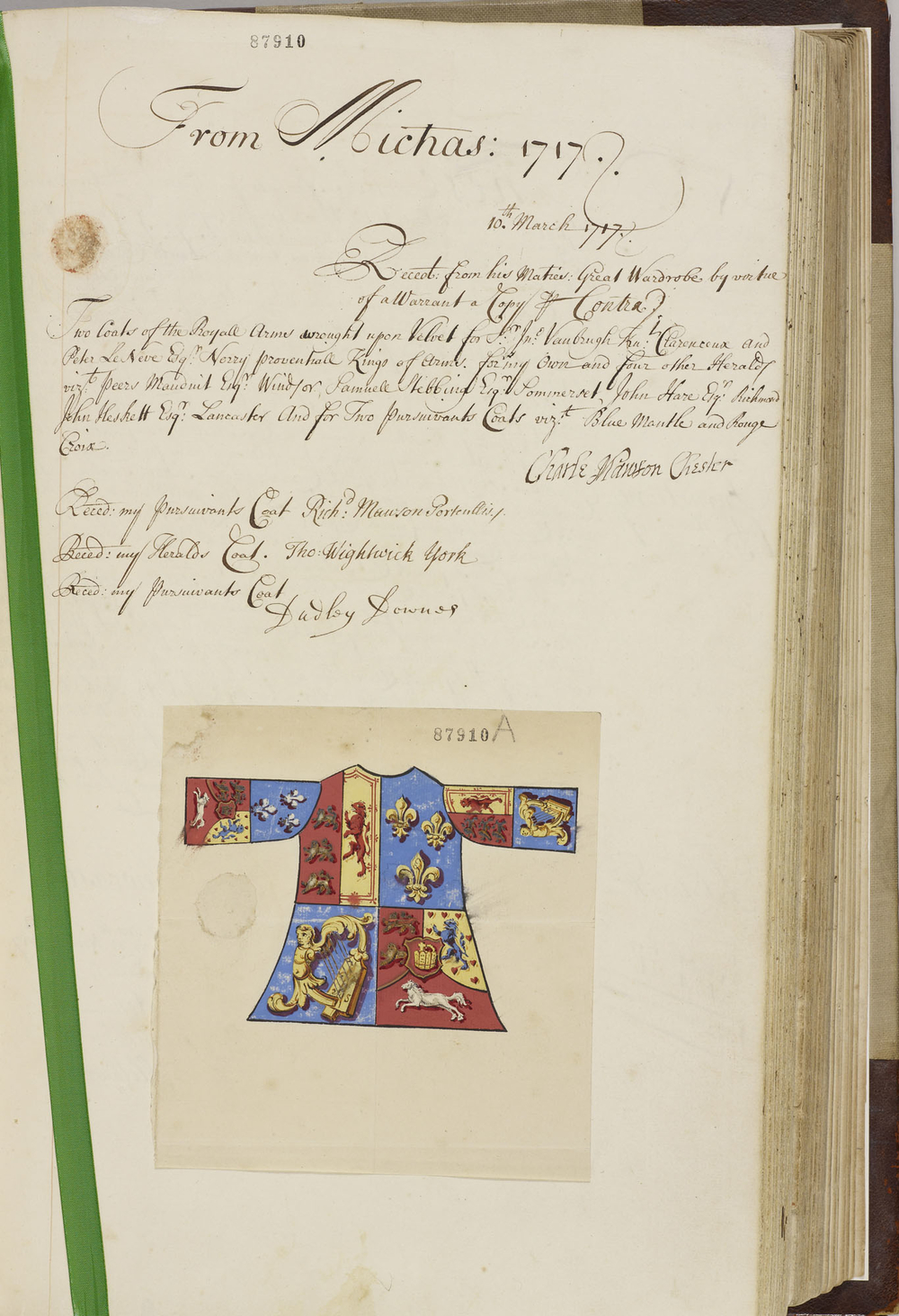 Page 19, copy receipt for tabards for officers in the College of Arms, with coloured drawing of the tabard, bearing the Royal Arms, March 1717