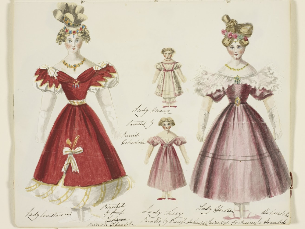 Queen Victoria's paper dolls (2 large and 2 small)